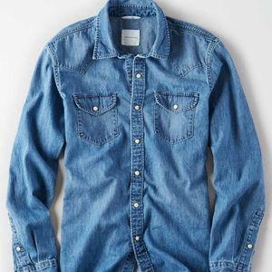 American Eagle Western Denim Button Down Shirt Top